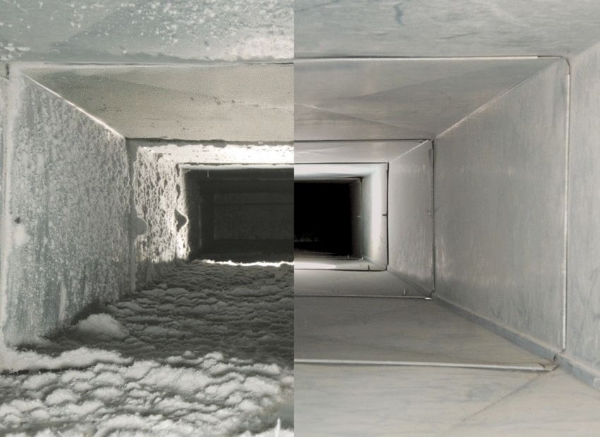 Interior view of air ducts before and after professional air duct cleaning