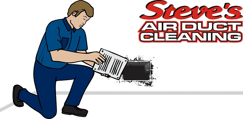 Animation of professional technician cleaning air ducts beside embedded Steve's Air Duct Cleaning logo