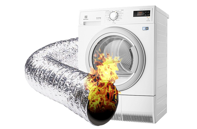 Animation of dryer vent on fire beside white clothes dryer
