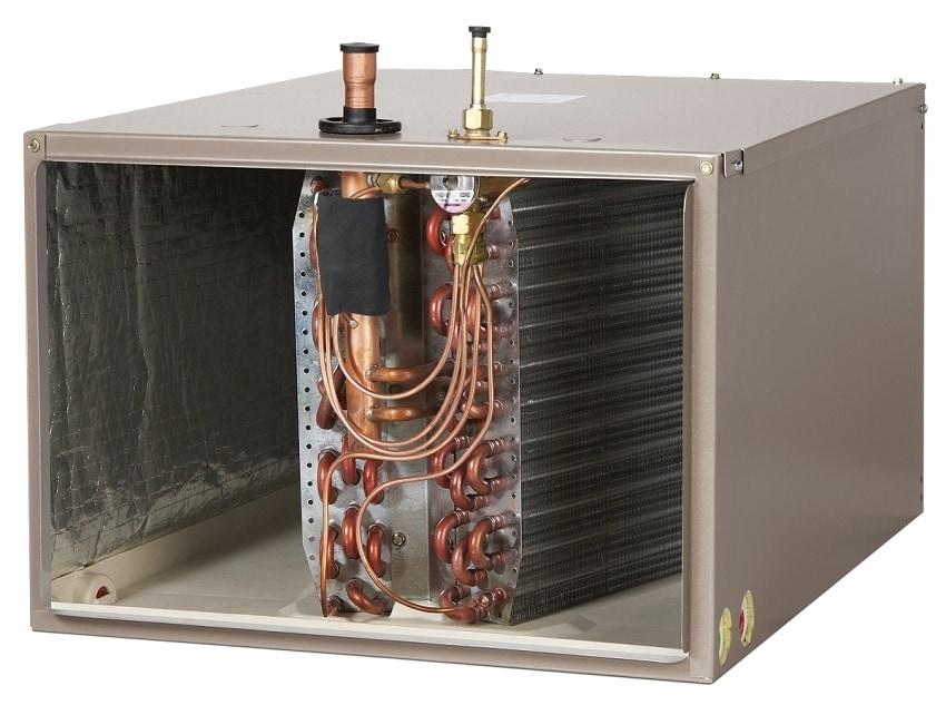 Furnace opened to show evaporator coils inside