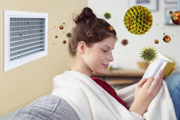 Animation of airborne contaminants entering living room through dirty air ducts